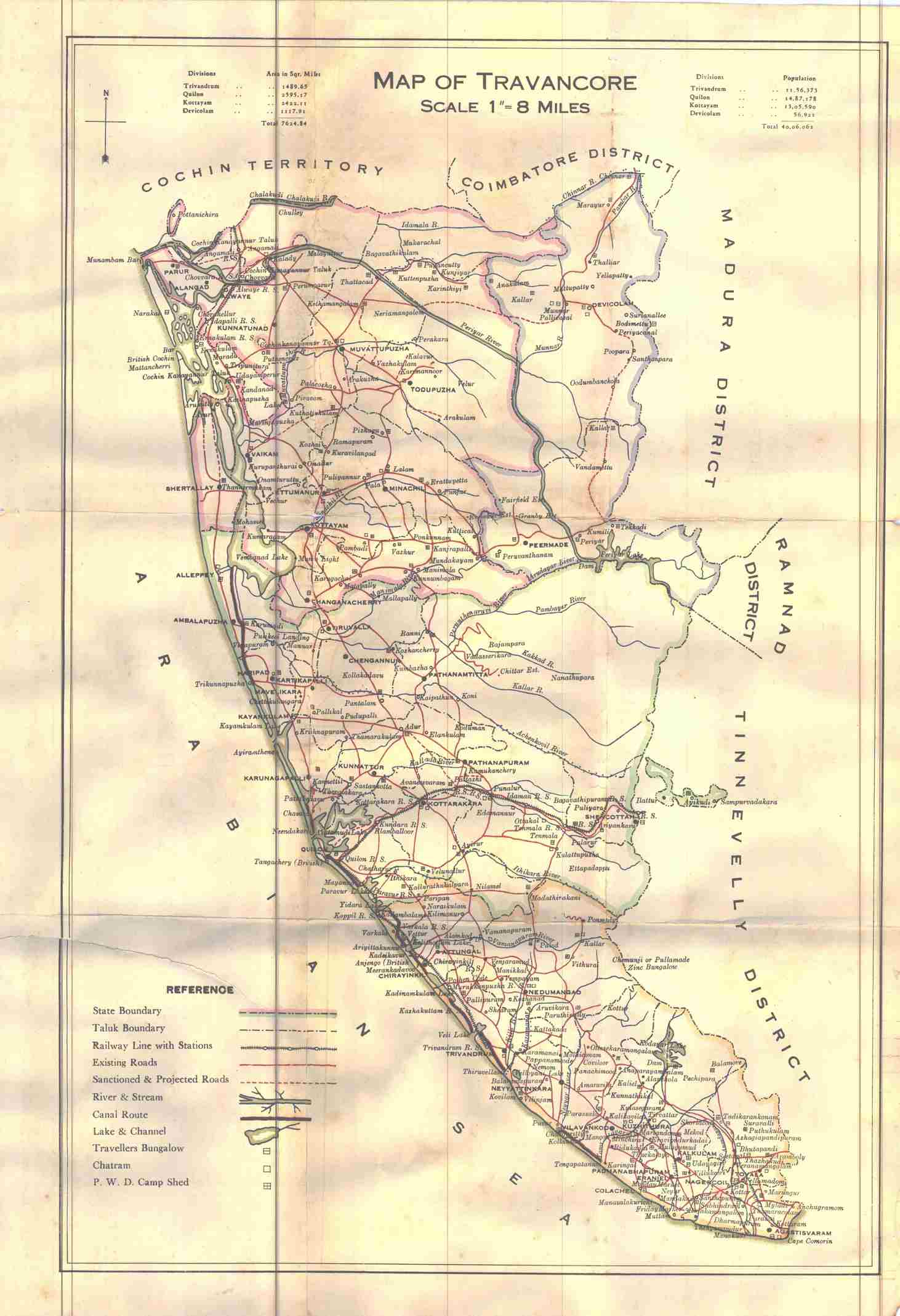 Travancore old map