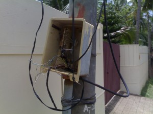 BSNL phone line  -Open junction  box on the pole